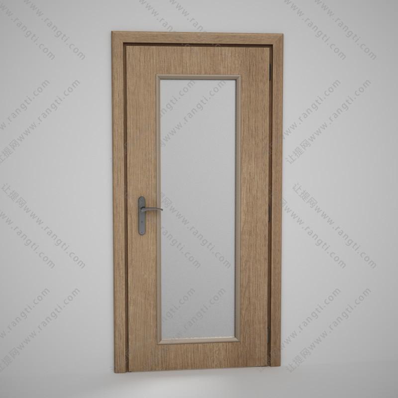 卫生间大长玻璃实木门3D模型