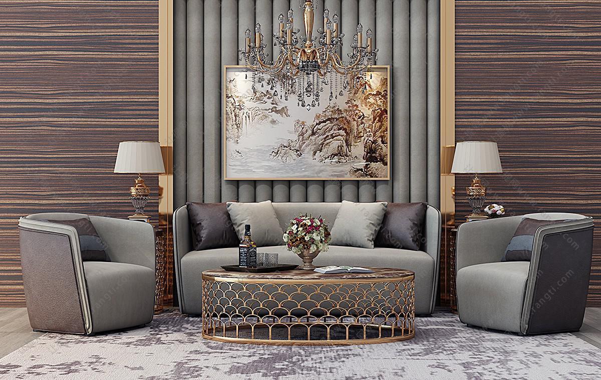简欧沙发、茶几、台灯和吊灯组合3D模型下载