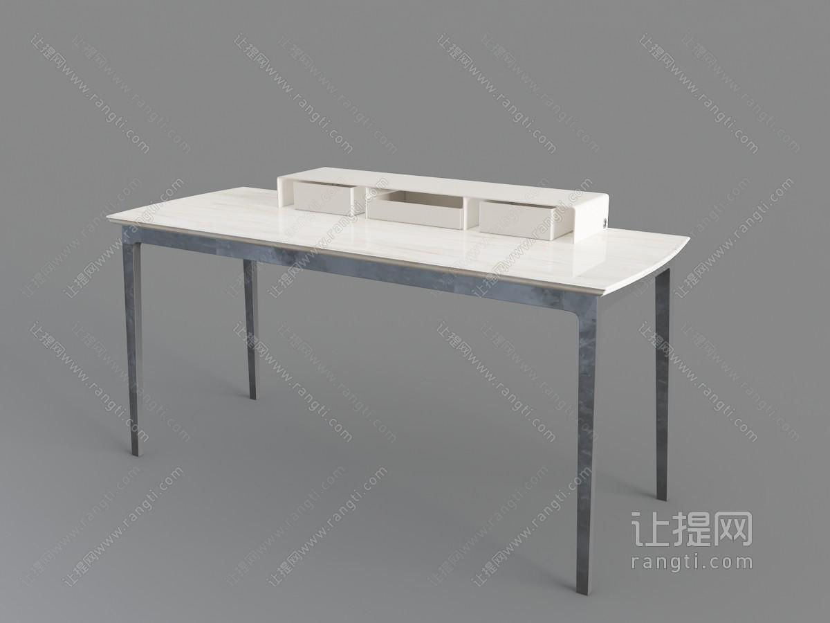 现代轻巧四脚撞色长方形书桌3D模型