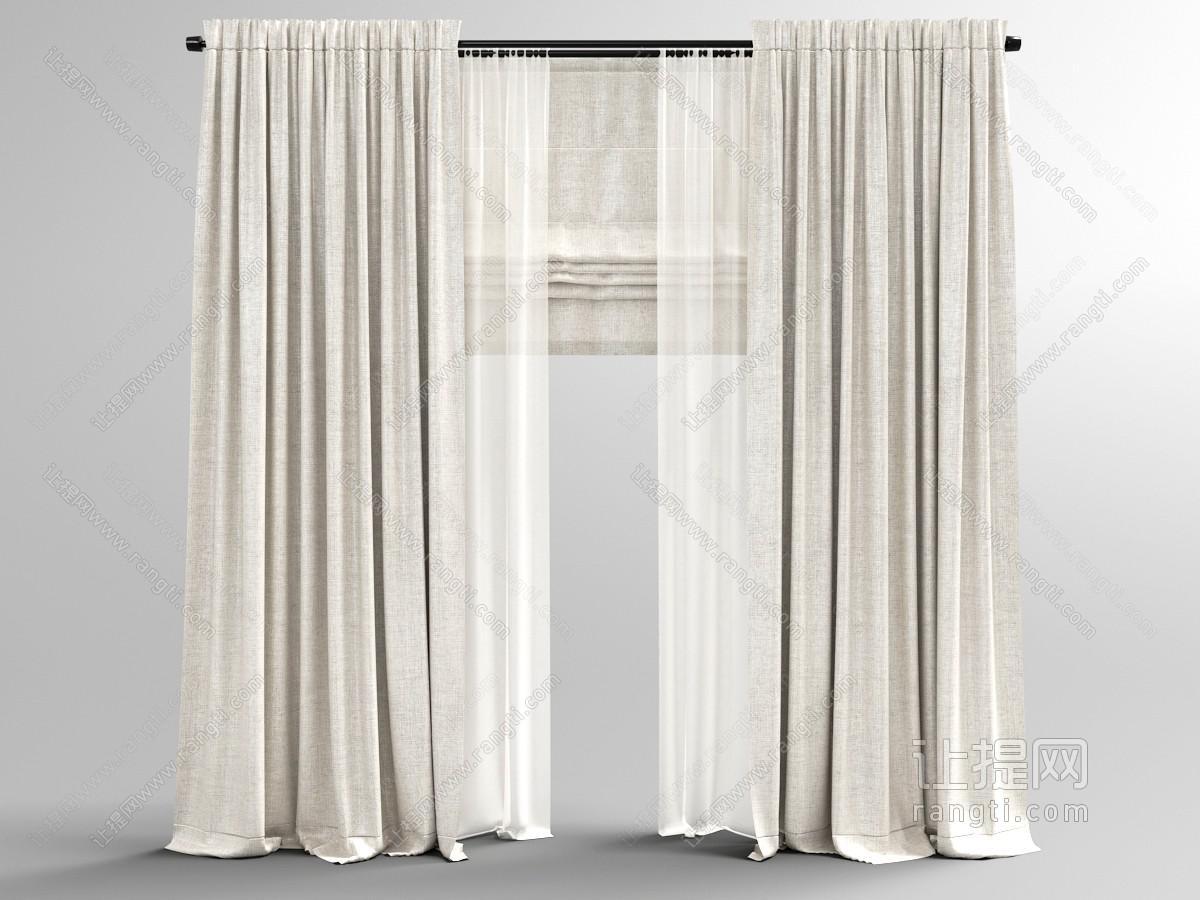 带有窗帘杆、窗纱和罗马帘的窗帘3D模型