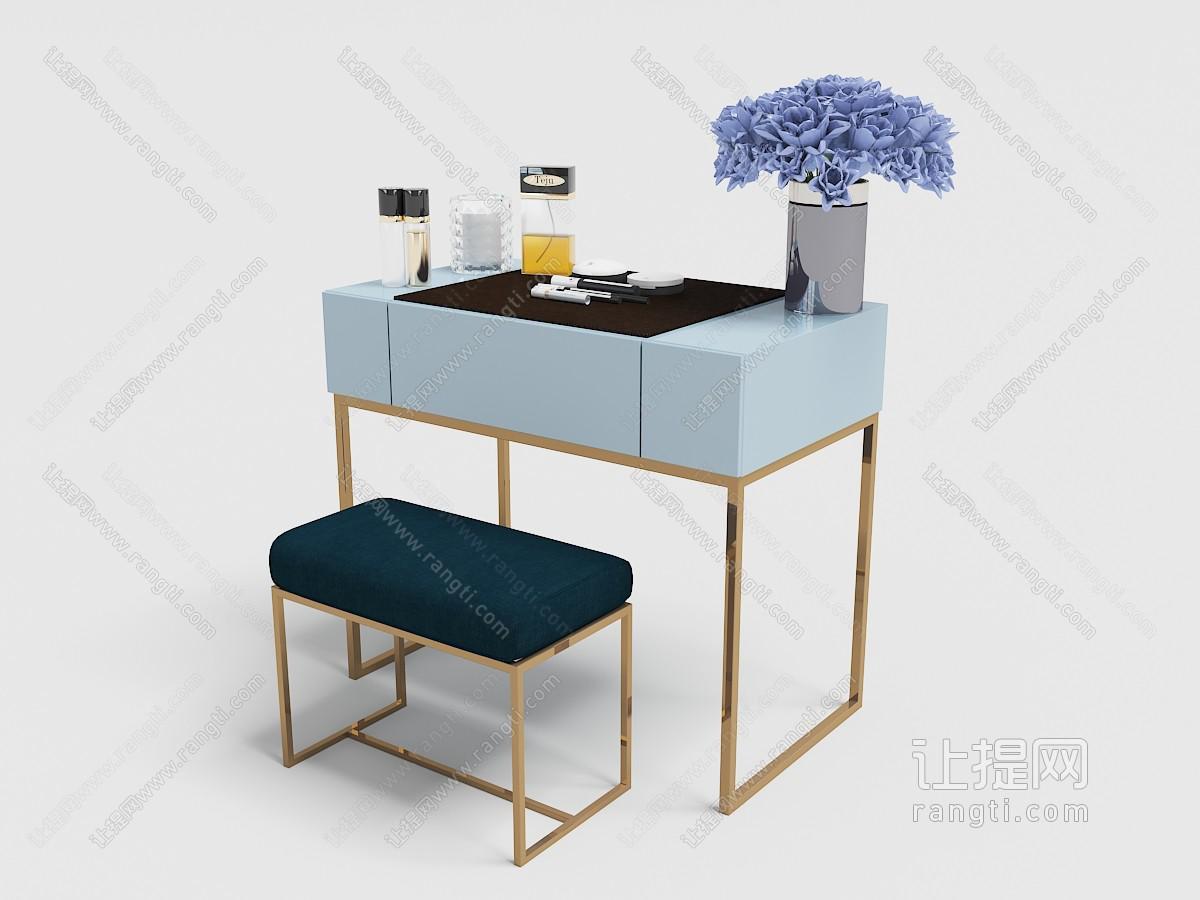 现代轻奢带有坐凳的梳妆台3D模型