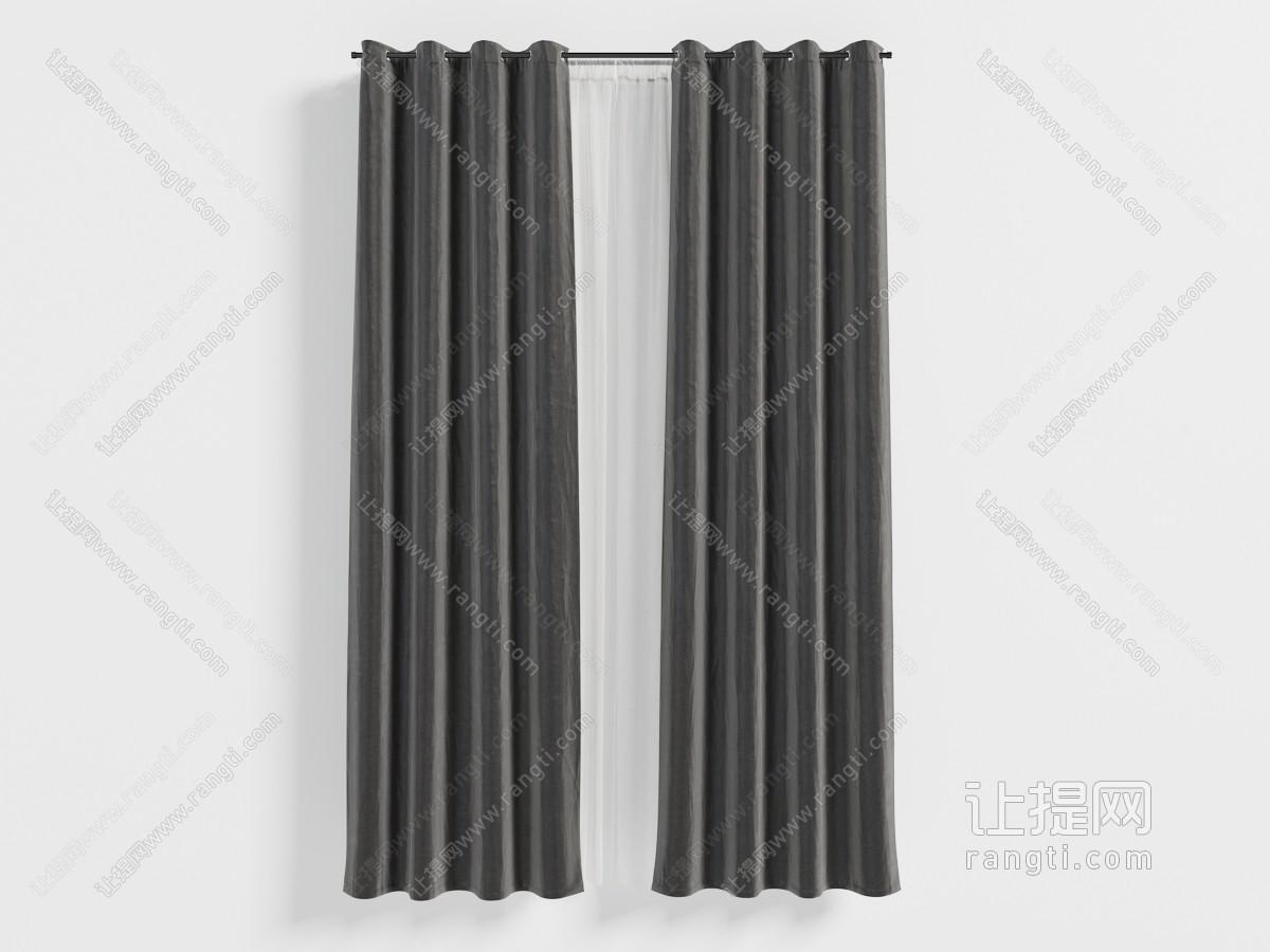 现代黑色带窗纱、窗帘杆的窗帘3D模型