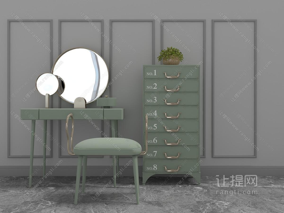 工业风怀旧绿色梳妆台和斗柜3D模型