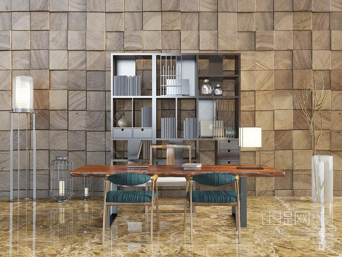 新中式原始实木长方形书桌椅3D模型