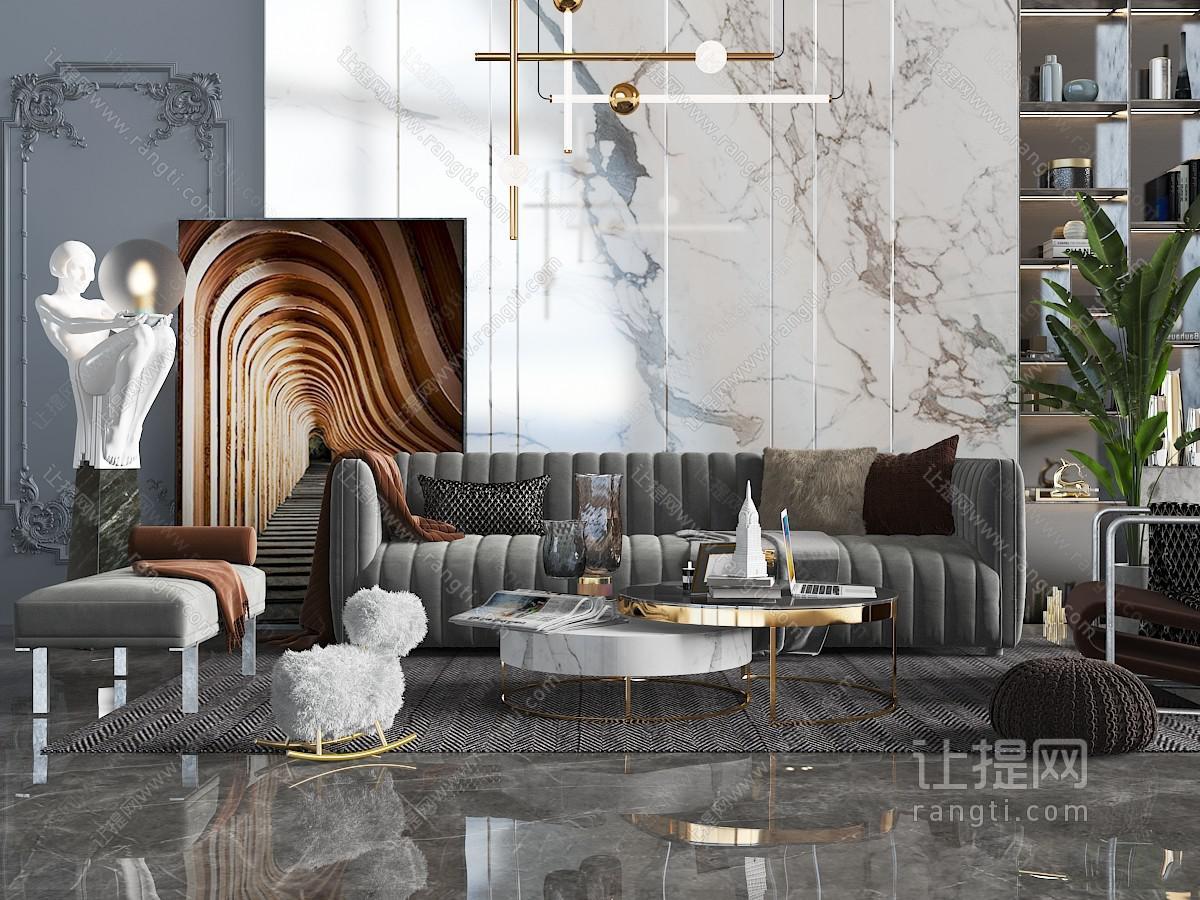 现代轻奢布艺软包多人沙发、美人榻和人物雕塑落地灯3D