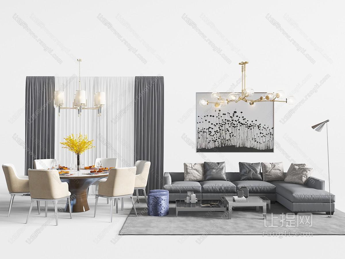 中式神灰色转角多人沙发和餐桌椅组合3D模型