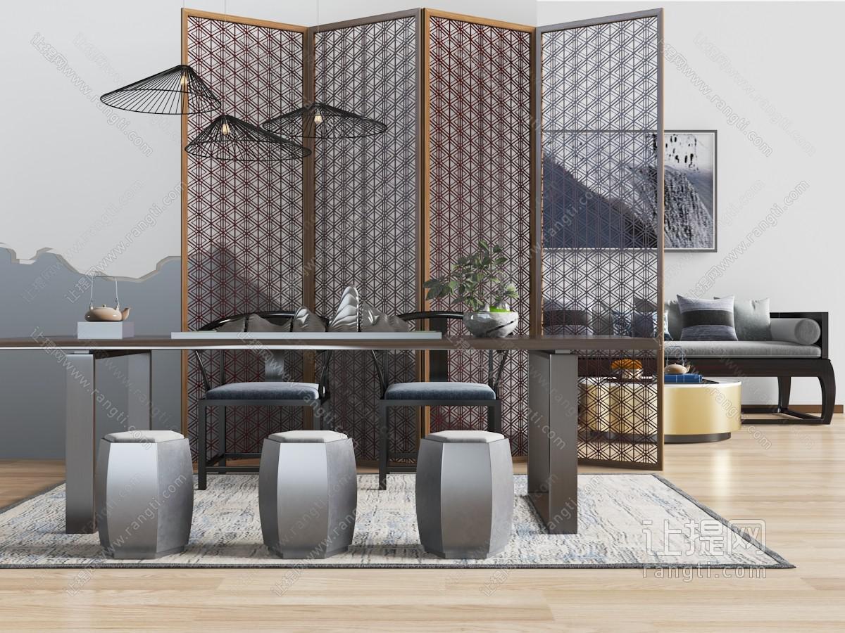 中式长方形茶桌、鼓凳和屏风3D模型