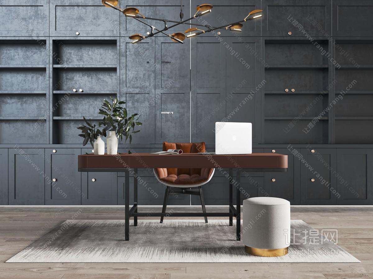 新中式现代暗红色书桌椅组合、书柜背景墙3D模型