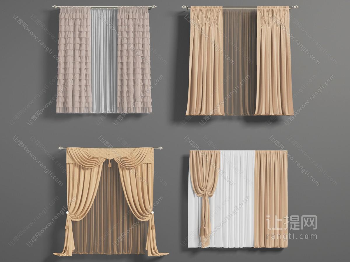 现代窗帘、粉咖色窗帘3D模型